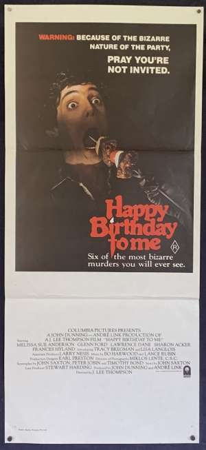Happy Birthday To Me Poster Original Daybill 1981 Melissa Sue Anderson Slasher