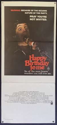 Happy Birthday To Me 1981 Daybill movie poster Glenn Ford Slasher Horror