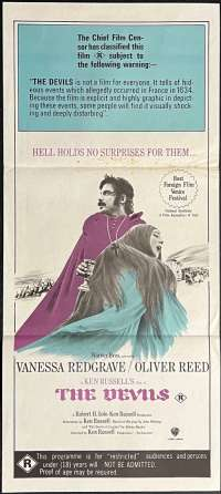 The Devils Poster Daybill Original Purple Art 1971 Ken Russell Horror Witchcraft
