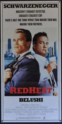 Red Heat Movie Poster Daybill Schwarzenegger Belushi