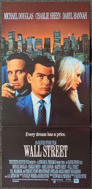 Wall Street Daybill Movie Poster Michael Douglas Charlie Sheen Oliver Stone
