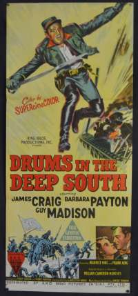 Drums In The Deep South Movie Poster Original Daybill 1951 RKO Guy Madison