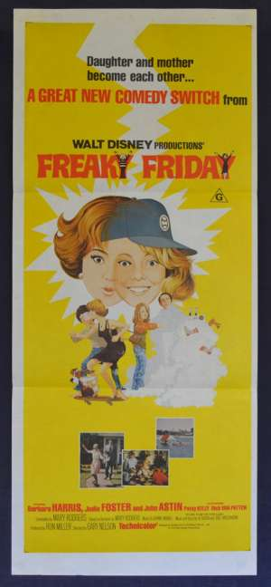 Freaky Friday Movie Poster 1976 Original Daybill Jodie Foster John Astin