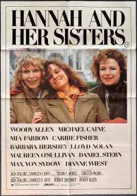Hannah And Her Sisters Poster One Sheet Original 1986 Woody Allen Michael Caine