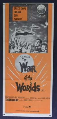 War Of The Worlds 1953 Movie Poster Original Daybill 1970's RI H.G. Wells