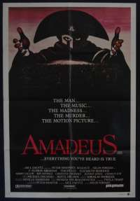 Amadeus Movie Poster Original One Sheet Mozart F. Murray Abraham Tom Hulce