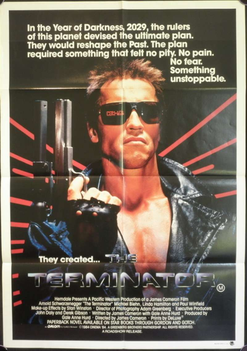 Click For Supersize Image The Terminator 1984 One Sheet Movie Poster Arnold Schwarzenegger