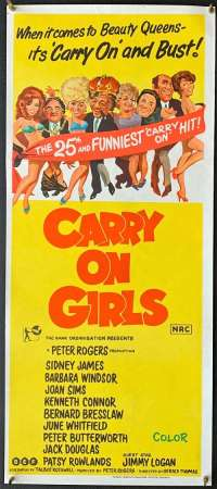 Carry On Girls Sid James vintage Daybill movie poster