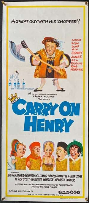 Carry On Henry Poster Original Daybill 1971 Sid James Kenneth Williams