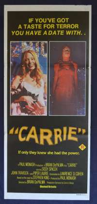 Carrie 1976 Daybill movie poster Sissy Spacek Piper Laurie Stephen King