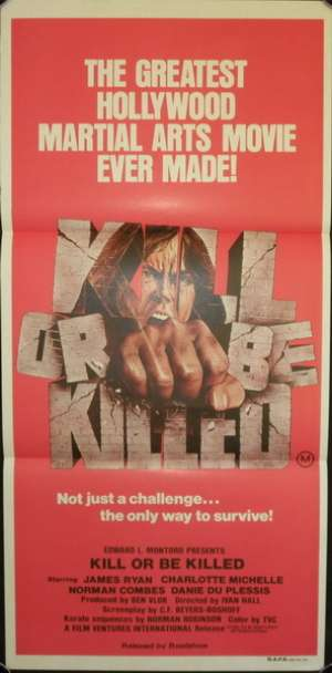 Kill Or Be Killed 1980 Rare Daybill Movie poster James Ryan