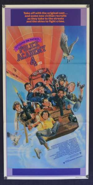 Police Academy 4 1987 Daybill movie poster Drew Struzan art Michael Winslow