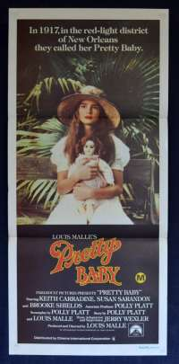 Pretty Baby 1978 Daybill Movie Poster Brooke Shields Louis Malle Susan Sarandon Nudity