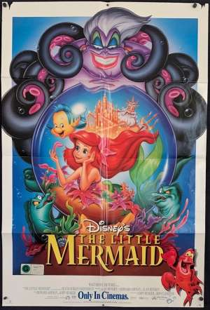 The Little Mermaid Poster Original One Sheet USA 1998 International Re-Issue Disney