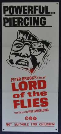 Lord Of the Flies 1963 movie poster Daybill RARE Duo Tone Peter Brook Horror Savages