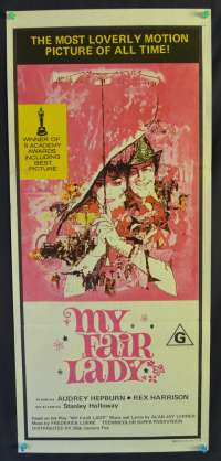 My Fair Lady Movie Poster Original Daybill 1970's RI Audrey Hepburn Rex Harrison