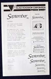 September 1987 Movie Press Sheet Woody Allen Mia Farrow Dianne Wiest