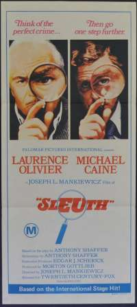 Sleuth 1972 Daybill movie poster Michael Caine Laurence Olivier