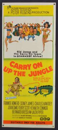 Carry On Up The Jungle 1970 poster Sid James rare Australian Daybill