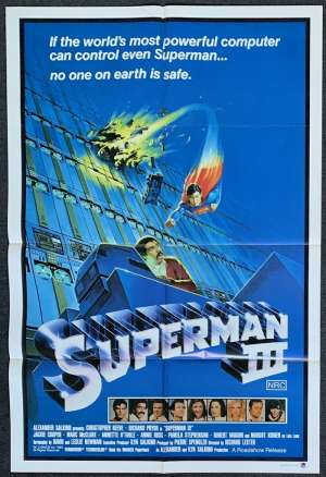 Superman 3 Movie Poster Original One Sheet 1983 Christopher Reeve Richard Pryor