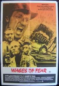 Wages Of Fear 1970's Roy Scheider One Sheet Australian movie poster