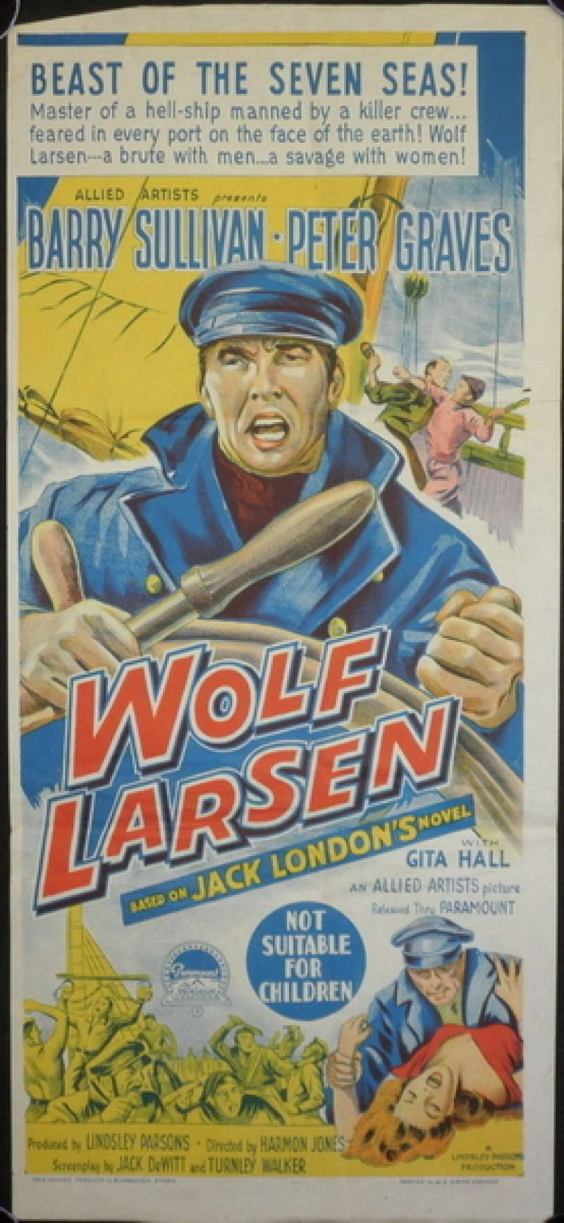 All About Movies Wolf Larsen 1958 Barry Sullivan Peter Graves Daybill Movie Poster