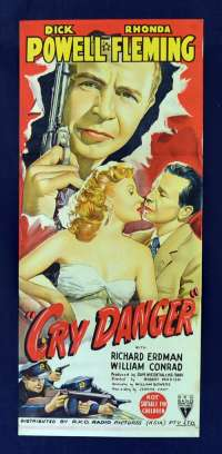 Cry Danger 1951 movie poster Daybill RKO Film Noir Dick Powell Gun artwork