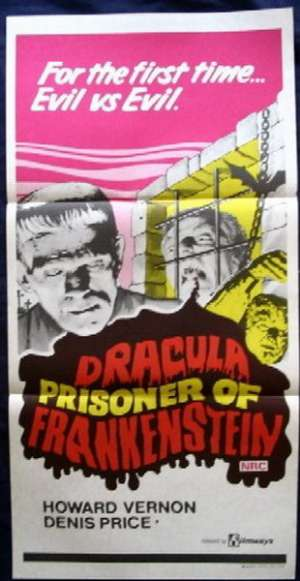 Dracula Prisoner Of Frankenstein Poster Original Daybill 1972 Howard Vernon