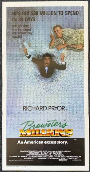 Brewsters Millions Movie Poster Original Daybill 1984 John Candy Richard Pryor