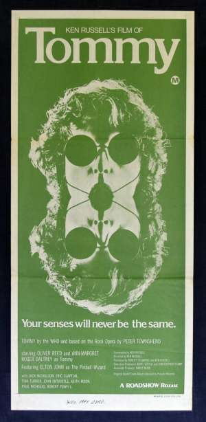Tommy 1975 Daybill movie poster The Who Ken Russell Ann Margaret Eric Clapton Elton John Rock Opera
