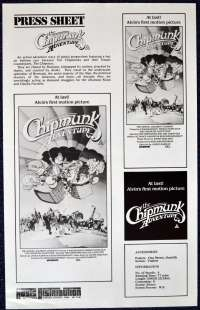The Chipmunk Adventure 1987 Movie Press Sheet Alvin Chipettes