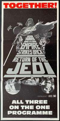 Star Wars Poster Original Daybill Trilogy 1983 Together Empire, Return Of The Jedi
