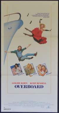 Overboard Movie Poster Original Daybill 1987 Style B Art Kurt Russell Goldie Hawn