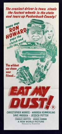 Eat My Dust 1976 movie poster Daybill Rare RED artwork Ron Howard Roger Corman