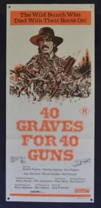 40 Graves For 40 Guns Poster Original Daybill 1971 Stanley Adams Robert Padilla