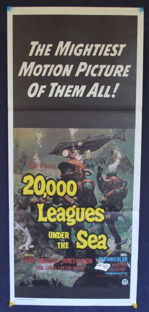 20,000 Leagues Under The Sea Poster Original Daybill 1970's RI Kirk Douglas