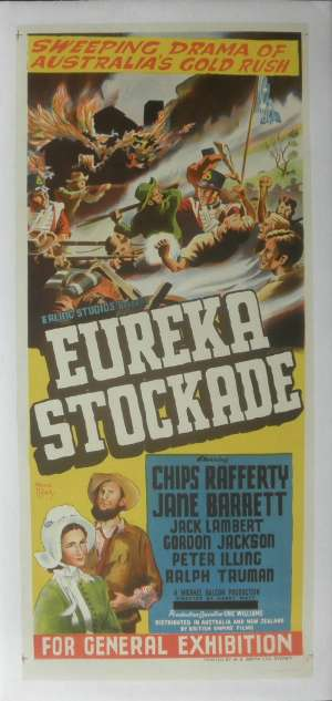 Eureka Stockade Poster Original Daybill Linen Backed 1949 Country Of Origin