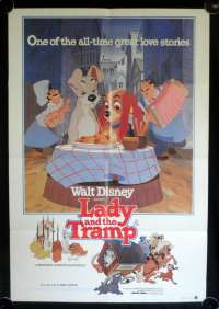 Lady And The Tramp Movie Poster Original One Sheet Disney 1980 Re-Issue