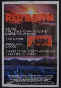 Red Dawn Movie Poster One Sheet Patrick Swayze Charlie Sheen 1984