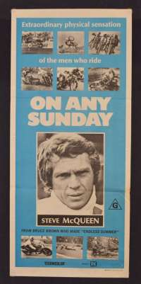 On Any Sunday Movie Poster Original Daybill 1971 Steve McQueen Bruce Brown