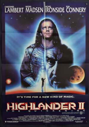 Highlander 2 The Quickening Poster One Sheet Christopher Lambert Sean Connery
