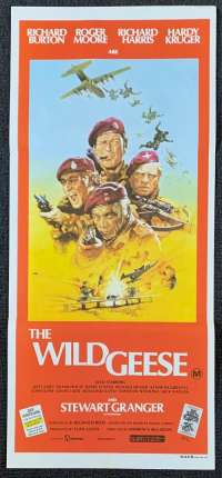 The Wild Geese movie poster Richard Burton Roger Moore Daybill
