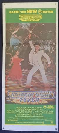 Saturday Night Fever 1977 Daybill Movie poster 1979 RI John Travolta Bee Gees