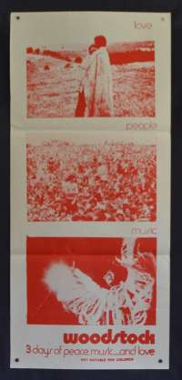 Woodstock Poster Original Daybill 70's Re-Issue Martin Scorsese Jimi Hendrix The Who