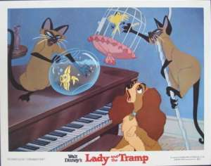 Lady And The Tramp Lobby Card Disney 1980 Re-Issue