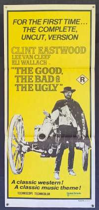 The Good The Bad And The Ugly Poster Original Daybill 1970s RI Clint Eastwood
