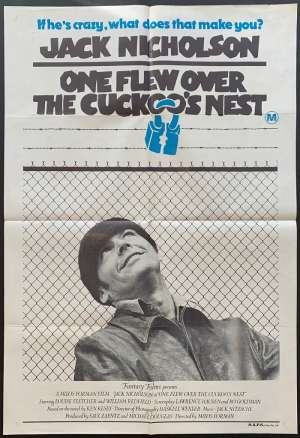 One Flew Over The Cuckoo's Nest Poster Original One Sheet 1975 Different Art
