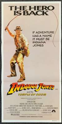 Indiana Jones And The Temple Of Doom 1984 Daybill movie poster Advance whip art