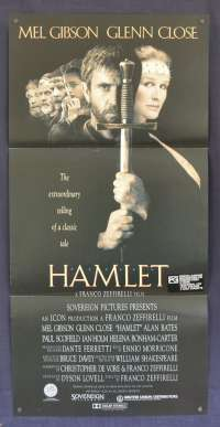 Hamlet 1990 Daybill Movie Poster Shakespeare Mel Gibson Glenn Close