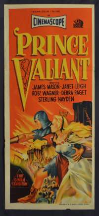 Prince Valiant Poster Original Daybill 1954 Stone Litho Art James Mason Janet Leigh